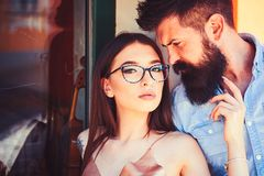 There are no rules in fashion. Couple of lovers with fashion style. woman and bearded man in love relations. There are no rules in fashion. Couple of lovers with royalty free stock photography