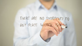 There Are No Shourcuts To any place Worth Go , man writing on transparent screen. High quality Stock Images