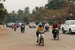 Not so much traffic jams jet in Laos capital city Vientiane. Royalty Free Stock Image