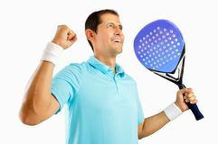 There is nothing like the feel of victory. Portrait of a young male paddle tennis player celebrating a victory isolated on white background Stock Photo