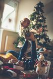 There is nothing more beautiful than Christmas euphoria. Family at home for Christmas holidays royalty free stock images