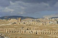 Columns at Jerash before a thunderstorm - Jordan stock images