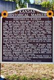 Kansas state historical marker sign information. There are numerous historical markers in rest areas for visitors of Kansas state . One of them as like this one stock photos