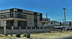 Breezy point queens home new york oceanfront. There is oceanfront homes of Breezy Point, which is a neighborhood in the New York City borough of Queens, located royalty free stock image