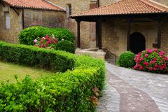 Architecture of Santillana del Mar, Cantabria, Spain. There is an old saying that Santillana del Mar is The Town of Three Lies, since it is neither a Saint Santo stock image