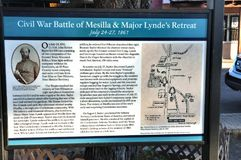 New mexico state mesilla city historical battle sign. There is one of the  numerous signs  in New Mexico state , city Mesilla, USA , which describes historical Royalty Free Stock Photo