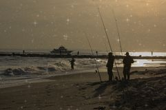 New york city breezy point fishing spot anglers night. There is one of the populalar fishing area in New York city near Atlantic ocean , which is Breezy Point Stock Photography