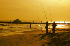 New york city breezy point fishing spot anglers evening. There is one of the populalar fishing area in New York city near Atlantic ocean , which is Breezy Point Stock Image