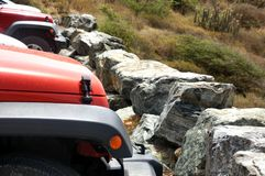 Jeeps wrangler stones wild nature adventure royalty free stock photos