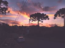 Sunday with friends enjoying the purple sky Caxias do Sul, RS, Brazil royalty free stock photo