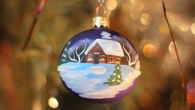 Christmas decorations. Ball with a picture of a house stock video footage