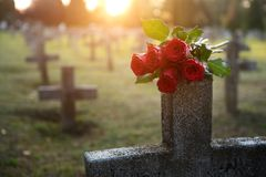 There are plenty of tombstones in the cemetery.  Stock Images
