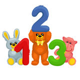There are plush bear, bunny, panda and hippo holding numbers stock illustration