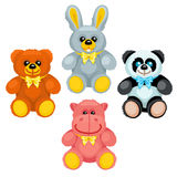 There are plush bear, bunny, panda and hippo Stock Images