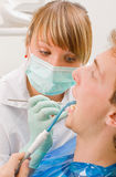 There is the problem. Young man at the sweet dentist Royalty Free Stock Images