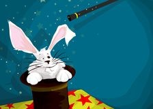 There is a rabbit in my hat!. A white rabbit popping up froma black hat on a yellow table with red stars on a blue background Stock Image