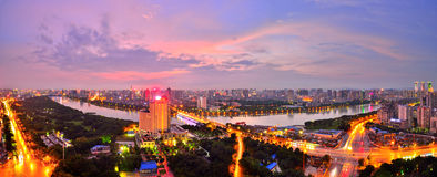 There is a red sunset over Nanning,Guangxi Royalty Free Stock Images
