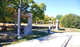 Kansas state  visitors  rest area  nearby  highway. There is rest area for visitors of Kansas state , right nearby highway , comfortable even during rain. Every Stock Image