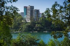 Sun moon lake. There`s many hotel building surrounding the Sun Moon Lake stock images