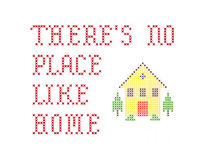 There's no place like home embroidery. On white Royalty Free Stock Photography