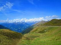 European valley under mountains royalty free stock images