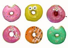Set of six donuts stock photos