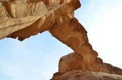 The rock bridge at Jebel Burdah , Wadi Rum, Jordan Royalty Free Stock Photo
