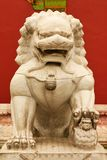Stone lioness guarding the entrance to the inner palace of the Forbidden City. Beijing. stock photography