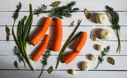 There are some green,carrots and white onions Royalty Free Stock Images
