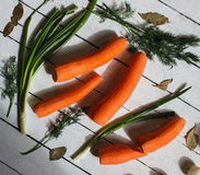 There are some green,carrots and white onions Stock Photography