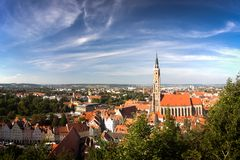 St. Martin church in Landshut during sunny day in Bavaria, Germany. Royalty Free Stock Photo