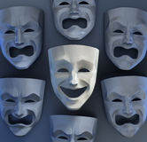 There Is Still Joy Among The Sadness. Comedian and tragedy theater masks on reflective glossy background. 3D rendered graphics Stock Photography