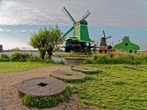Windmills in the Netherlands - the same ones that served the great Dutch landscape painters for their wonderful works of art. There are still remarkably Stock Image