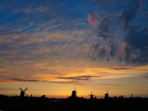 Windmills in the Netherlands - the same ones that served the great Dutch landscape painters for their wonderful works of art. There are still remarkably Royalty Free Stock Images