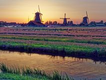 Windmills in the Netherlands - the same ones that served the great Dutch landscape painters for their wonderful works of art. There are still remarkably Royalty Free Stock Photo