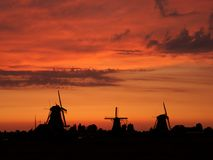 Windmills in the Netherlands - the same ones that served the great Dutch landscape painters for their wonderful works of art. There are still remarkably Stock Photography