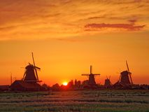 Windmills in the Netherlands - the same ones that served the great Dutch landscape painters for their wonderful works of art. There are still remarkably Stock Photos