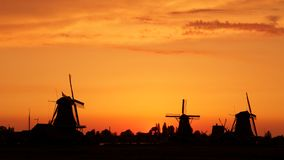 Windmills in the Netherlands - the same ones that served the great Dutch landscape painters for their wonderful works of art. There are still remarkably Stock Images