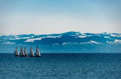 Sailboats practise for racing in early spring royalty free stock photography