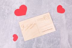 Sweet wooden postcards royalty free stock photography