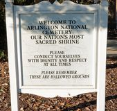 Arlington National Cemetery, Virginia, USA- Welcome Sign. There are thousands of graves at Arlington National Cemetery, USA. America`s Shrine to those who Royalty Free Stock Images