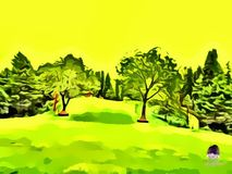 Scenery of trees and lovely mango color sky vector illustration