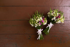 There are two wedding bouquets Stock Photos
