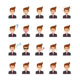 Businessman Face Expressions Flat Vector Icons Set. There are 20 vector icons related to office characters in this pack. Each business character here explains Stock Photo