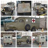 Historical ambulance 1942 dodge model wc 27. There is very rare vintage historical ambulance from the time of World War II ,which volunteers trying to restore in Stock Image