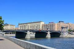 Moscow, Russia – May 25, 2018: Borodinsky Bridge across the Moscow River stock photo