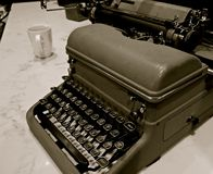 Vintage Mechanical Manual Typewriter. There was a time that the typewriter was a necessary tool in the office. Today the computer has made this tool obsolete and royalty free stock photos