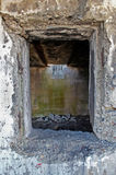 There was a window. Ruins of an abandoned house, the window royalty free stock photography
