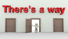 There is a way. 3d render of man in front of open door Stock Photos