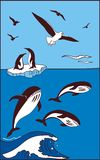 There are whale, penguins and seagulls royalty free illustration